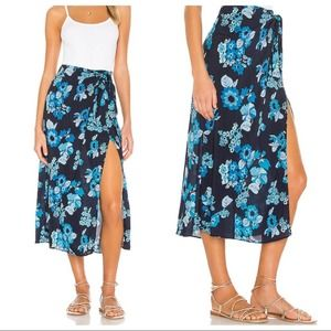 Free People Sunray Sarong Skirt in Blue Combo